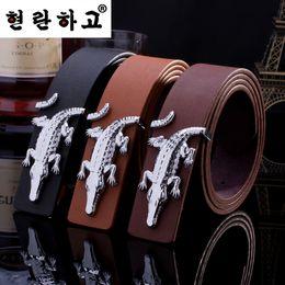 Wholesale Wholesale Quality Leather Belts - Wholesale- 2016 Fashion mens belt luxury Brand designer belts men high quality Crocodile PU Leather belts men women casual hermet belt lady