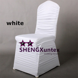 Wholesale Lycra Ruffled Chair Covers - White Ruffled Spandex Chair Cover \ Cheap Price Wedding Stretch Lycra Chair Cover