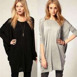 Wholesale Black Bell Sleeve Dress Xs - Wholesale- ZANZEA 2016 Stylish Slim T Shirt Women Sexy Black Gray Cotton Long Batwing Sleeve Loose Shirt Dress Plus Size Tops Tees T-Shirt