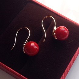 Wholesale South Seas Pearls Silver - 10MM AAA SOUTH SEA RED SHELL PEARL SOLID STERLING SILVER HOOK EARING