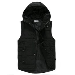Wholesale Men S Vest Hoodies - Wholesale- free ship 2017 winter casual waistcoat men down parka jacket mens vest sleeveless hoodie cool jackets for men,white black,S-XXL
