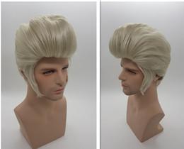 Wholesale Men Synthetic Hair - XT861 White Silver Natural Synthetic Hair Elvis Presley Hairstyles Men Short Hair Wigs Cosplay Pelucas Perruque Men Peru Pruiken Peruk