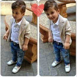 Wholesale Boys Jeans Jackets - Retail Baby Boys Clothing sets for Autumn Spring suits Jacket Jeans Shirt Three Piece Kids Fashion Clothes 2-8 years SKW-136