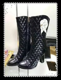 Wholesale Selling Boot For Women Knee - Genuine leather High heels Knee Boots for women New Brand Designer Hot Selling Fall Winter Booties Female