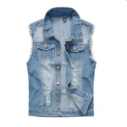 Wholesale Denim Waistcoat Men - Autumn Vintage Design Men's Denim Vest Male Slim Fit Sleeveless Jackets Men Brand Hole Jeans Waistcoat Plus Size M-6XL