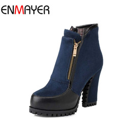 Wholesale Sexy Mixed Big Woman - Wholesale-ENMAYER Zip Thick High Heels Black Ankle Boots for Women Metal Sexy Boots Winter Shoes High Heels Platform Boots BIG Size34 41