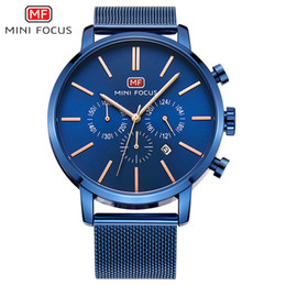 Wholesale Mini Clock Battery - Top Brand Luxury Chronograph Men Sports Watches Stainless Steel Quartz Watch Men Army Military Wrist Watch Male MINI FOCUS Clock