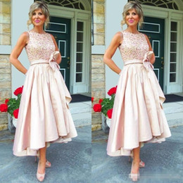 Wholesale Art Deco Tea - 2017 Trendy Mother Of The Bride Evening Dresses Tea Length Jewel Neck Shiny Sequined Bodice Blush Pink High Low Bridal Party Gowns