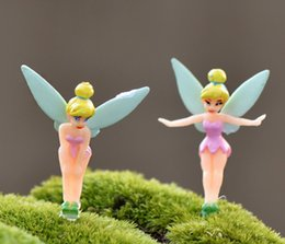 Wholesale 90pcs DHL FREE Cartoon Fairy Figurines Fairy Garden Miniatures Gnomes Pixie Dust Princess Miniature Fairy Figurine Mini Garden Resin Craft