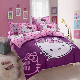 Wholesale King Size Animal Print Quilts - Wholesale-2015 new Home textiles Cartoon purple Hello kitty bed linen for children King size Quilt Duvet Cover Pillow Bedding Sets