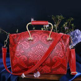 Wholesale pu process - Women's new retro national wind temperament handbag handbag fashion shoulder bag   wild Ms. bag   embossing processes
