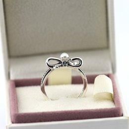 bague arcade pandora Promotion Silver Rings bow pearl S925 Sterling Silver convient pour les bijoux de style pandora pour les femmes Livraison gratuite Rip105H9