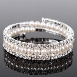 Wholesale Cheap Wedding Jewelry For Brides - Luxury Pearls 3 Rows Rhinestones Stretch Bangle Wedding Bracelets Bridal Jewelry Cheap Crystals Bracelet For Bride Evening Prom Party