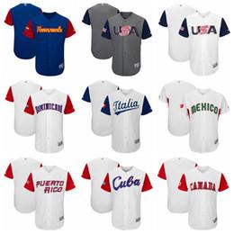 Wholesale Italy World Cup Jerseys - 2017 World Baseball Classic Jerseys USA ITALY CANADA CUBA PUERTO RICO VENEZUELA DOMINICANA Blank World Cup Baseball Jerseys