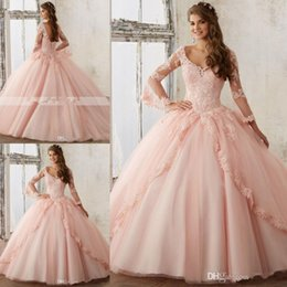 Wholesale Baby Summer Dress Yellow - Long Sleeve Baby Pink Ball Gown Quinceanera Dresses V Neck Lace Appliques Long Prom Sweet 16 Prom Gowns Vestidos De Quinceanera
