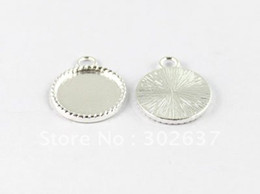 """Wholesale Wholesale Picture Frames Free Shipping - charm round FREE SHIPPING 50PCS 0.75"""" Silver plated Cabochon Settings Pendant Trays picture frame Round Charms A15019SP"""