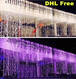 Wholesale Xmas Icicles Lights - Curtain String Lights Garden Lamps New Year Christmas Icicle LED Lights Xmas Wedding Party Decorations 300LEDs 3M*3M 1000LEDs 10M*3M