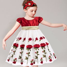 Wholesale Little Girl Lace Rose Dress - Little Girls Dresses Summer Kids Dresses for Girls Clothes Rose Floral Print Children Dress Print Princess Dress Kids Costume for Girls