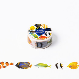 Wholesale Fishing Tapes - Wholesale- 2016 2cm*8m Colorful Fish washi tape DIY decoration scrapbooking planner masking tape adhesive tape label sticker stationery