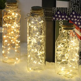 Wholesale led fairy - LED Vase string light waterproof button battery operated fairy lights for wedding party Home DIY decorations 7 Colors