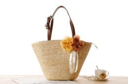 Wholesale Crochet Flower Decoration - Handmade Natrual Straw Summer Beach Handbag with Flower Decoration