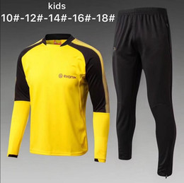 Wholesale Football Training Clothing - AAA Dort tracksuit kids1 Set Kit long sleeve Training suit pants football 17 18 Aubameyang Reus clothes sports wear