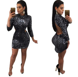 Wholesale Black Cocktail Dress Europe - Hot Sale Europe and America Sexy Elegant Sequined Dresses Slim Night Club Mini Short Dress Evening Party Bodycon Cocktail Dress Black