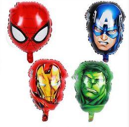 Argentina Globos de papel de aluminio Capitán América Hulk SpiderMan Cabeza de hombre de hierro 55 * 33 CM The Avengers héroe globos fiesta de cumpleaños decoración juguete DHL envío gratis cheap toys for 55 Suministro