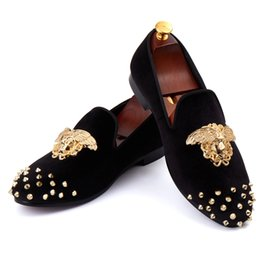 Wholesale Men Red Loafers - Harpelunde New Arrival Men Wedding Shoes Spikes Black Velvet Loafers Rivets Flat Shoes Free Shipping Size 7-14