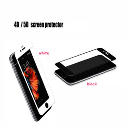 Wholesale 4d Glasses - 3D 4D 5D HD Tempered Glass Full Cover Screen Protector For iPhone 6 6s 7 7s plus Iphone 8 x