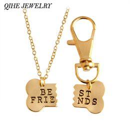 Wholesale Handstamped Jewelry - Wholesale-QIHE JEWELRY 2pcs set Gold Silver Color Dog Bone Best Friends Charm Necklace & Keychain Handstamped BFF Bones Friendship Jewelry