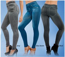 jeggings denim atacado Desconto Atacado Plus Size Sem Costura Legging Jeggings Verdadeiros Jeans Leggings de Bolso Sem Costura Fuzz Pernas Jeans Denim Calças Leggings Frete Grátis