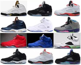 Wholesale Cheap Tongue - New Cheap retro 5 V Olympic OG metallic Gold Tongue Wholesale Man Basketball Shoes Black Metallic red blue Suede Fire Red Sport Sneakers