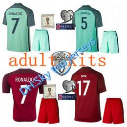 86fee5de4bf86 16 17 Melhor qualidade Portugal futebol jersey kits 2016 RONALDO NANI  QUARESMA PEPE GUERREIRO Euro Cup Portugal Men s Football Shirts