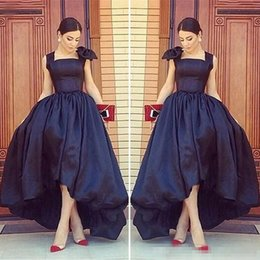 Wholesale Low Collar V Neck Dresses - Arabic High Low Black Formal Prom Party Gowns 2017 Cap Sleeves Scoop Neck Front Short Back Long Plus Size Evening Special Occasion Gowns