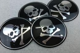 Wholesale Hub 65mm - Car Styling 65MM Aluminum Skull Wheel Center Hub Cap Emblem Decal Head Skeleton Wheel Stickers Universal Fit