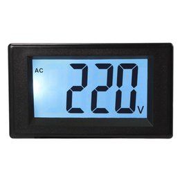 Wholesale Voltmeter Ac Analog - Two-wire AC 20-500V Blue LCD Voltmeter Voltage Panel Volt Meter 220V 380V MA1113