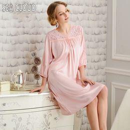 Wholesale Dresses Summer Sea - Wholesale- Sea Cloud Sleepwear female summer silk pink nightgown viscose summer loose plus size Three Quarter lounge silk full dress