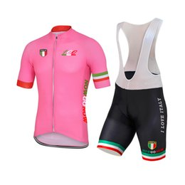 Wholesale Cycling Bibs Italia - NEW Customized 2017 100 years Pink ITALY ITALIA mtb road RACING Team Bike Pro Cycling Jersey Sets Bib Shorts Clothing Breathing Air JIASHUO