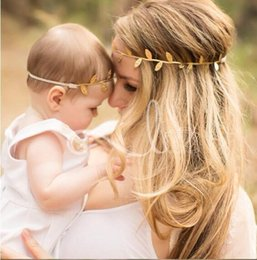 Wholesale Headbands Korea - The New 2017 Children And Monther South Korea Edition Golden Leaves With Europe And The United States Headband