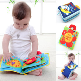 Wholesale Educational Cloth Books - 12 pages Soft Cloth Baby Boys Girls Books Rustle Sound Infant Educational Stroller Rattle Toys For Newborn Baby 0-12 month