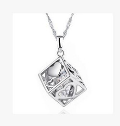 Wholesale Dressing Cube - Women Jewelry AAA Diamond Austrian Magic Love Cube Crystal Cubic Zircon 925 Sterling Silver Pendant Necklace for Wedding Dress Sets Party