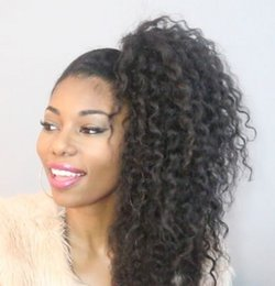 Wholesale Curly Virgin Hair Jet Black - Drawstring human hair ponytail hairpieces afro kinky curly ponytail brazilian virgin hair 80g-120g jet black for black women