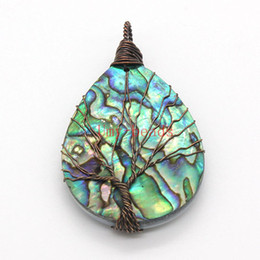 Wholesale Handmade Wire Wrapped Jewelry - wholesale 10Pcs Trendy Copper Color Tree Life Water Drop Pendant Abalone shell Pendant Fashion Handmade Wire Wrapped Jewelry