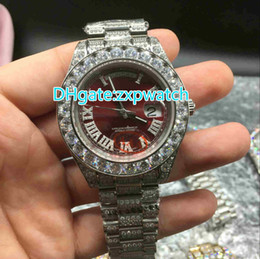 Wholesale Watch Hip Hop - Huge diamonds bezel big size 43mm wrist watch luxury brand hip hop rappers full iced out silver case red face dial automatic watches