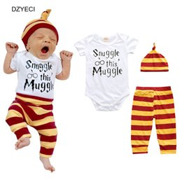Wholesale Costume Bodysuit Outfit Romper - Summer Infant Newborn Bodysuit Set Clothes Boy Girl Baby Hat+Letter Romper Jumpsuit+Striped Trouser 3PC Suit Toddler Outfits Costume