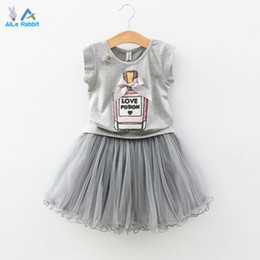 Wholesale Girls Pettiskirt Sets - Wholesale- 2015 fashion girls skirt summer sets,2 pcs white cartoon t-shirt+black pettiskirt lace suits,2 colors baby girls clothes 2-7 yrs