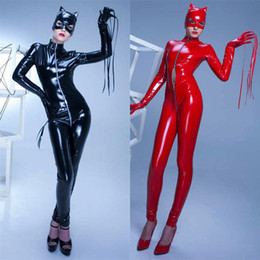 Wholesale Costumes Leather Harness - Women Black Red Sexy Long Sleeve Faux Leather Latex Catsuit Clubwear Sexy Lingerie With Zipper to Crotch Sex Fetish Bondage Harness Costumes