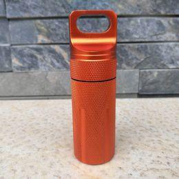 Wholesale Tank Cases - Mini Aluminum Waterproof Tank Seal Bottle Case Container Holder EDC Box CNC Black Orange Green Color 50pcs A291