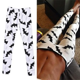 Wholesale Wholesale Bat Leggings - Wholesale- 2017 Sexy Women Leggings White bat Legging Low Waist Fitness Trousers Fitness Legging Clothing